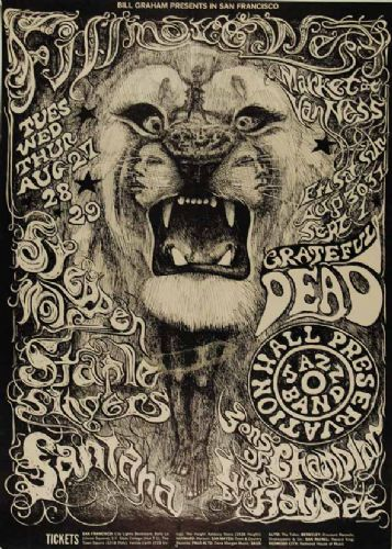 THE GRATEFUL DEAD - Fillmore live LION canvas print - self adhesive poster - photo print